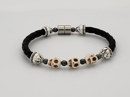 Braided Leather Cord with Skulls