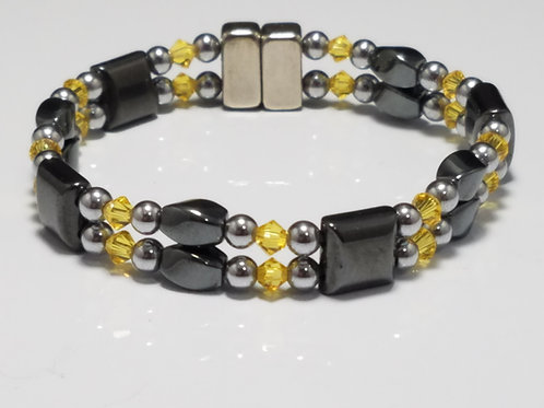Hematite Twist with Square Spacer and Crystal