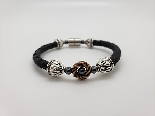 Leather Cord with Copper Wreath