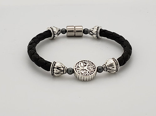 Braided Leather Cord with Tree