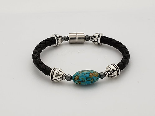Braided Leather Cord with Turquoise