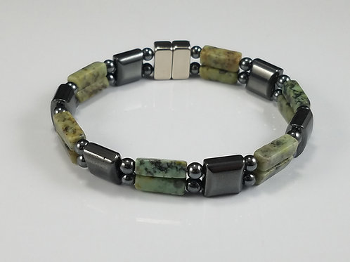 Hematite Square with African Jade
