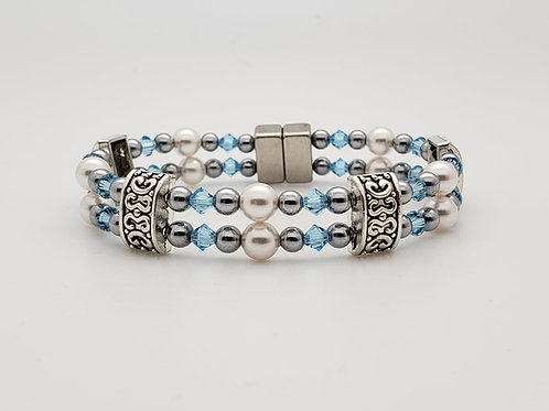 White Pearl with Swarovski Birthstones