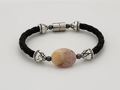 Braided Leather Cord with Stone