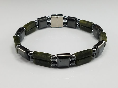 Hematite Square with Green Spot Stone