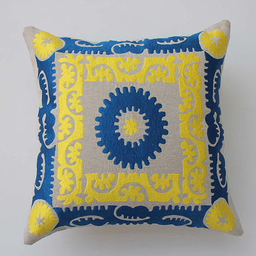 "18""X18"" BLUE/YELLOW SUZANI THROW PILLOW COVER"