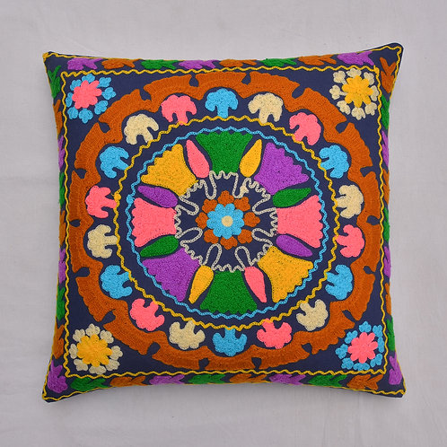 HAND EMBROIDERED FLORAL SUZANI CUSHION COVER