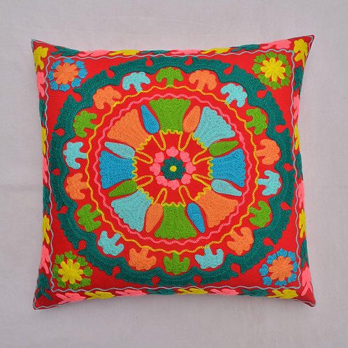 SUZANI INSPIRED EMBROIDERED COTTON CUSHION COVER