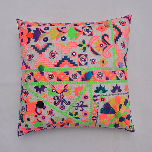 EMBROIDERED FLORAL INDIAN CUSHION COVER