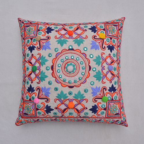 DECORATIVE COTTON EMBROIDERED CUSHION COVER