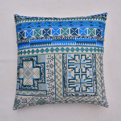 BLUE EMBROIDERED DECORATIVE CUSHION COVER