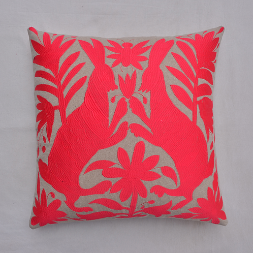 MEXICAN OTOMI EMBROIDERED PINK CUSHION COVER