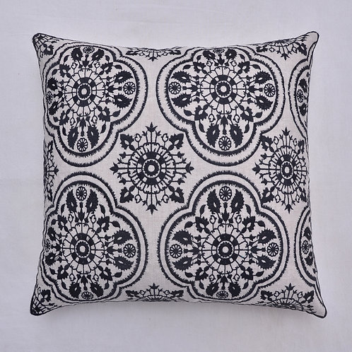 BLACK FLORAL EMBROIDERED COTTON CUSHION COVER