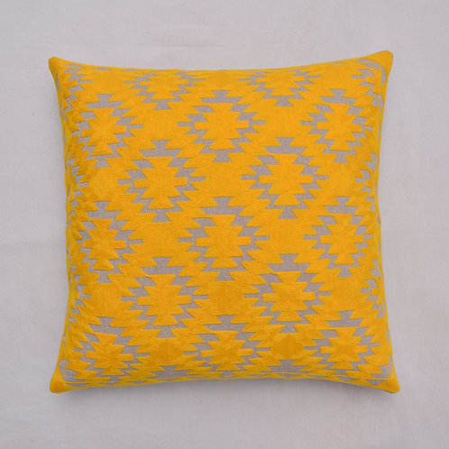 YELLOW EMBROIDERED DECORATIVE CUSHION COVER