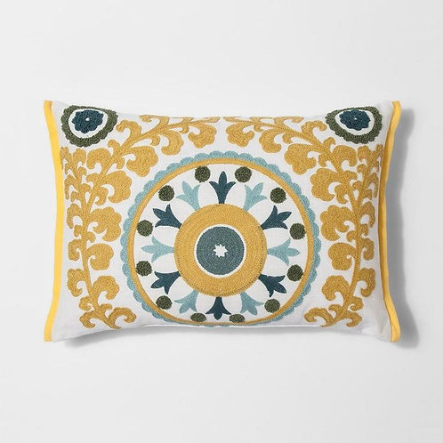 DECORATIVE SUZANI LUMBAR PILLOW COVER