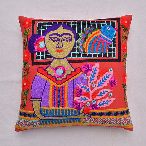 FRIDA KAHLO HAND EMBROIDERED CUSHION COVER