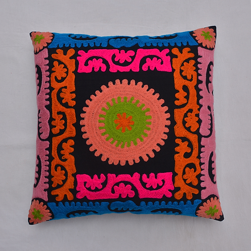 """HAND EMBROIDERED SUZANI CUSHION COVER 18""""X18"""""""