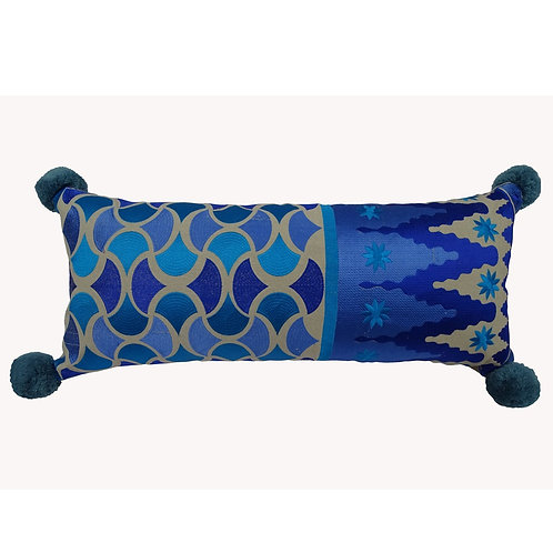 EMBROIDERED LONG PILLOW COVER WITH POMPOM