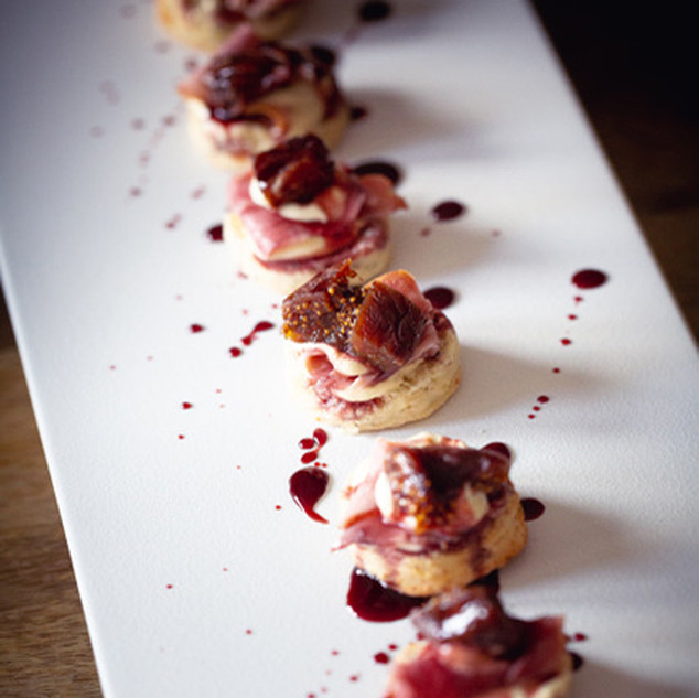 Blue cheese scones with smoked ham and port drenched figs