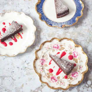 Chocolate mocha torte with raspberry coulis