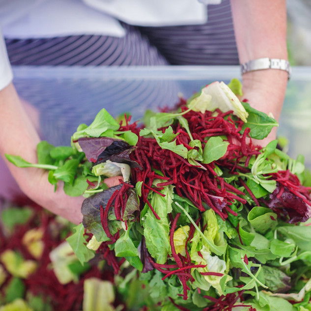 Leafy green salad with shredded beetroot