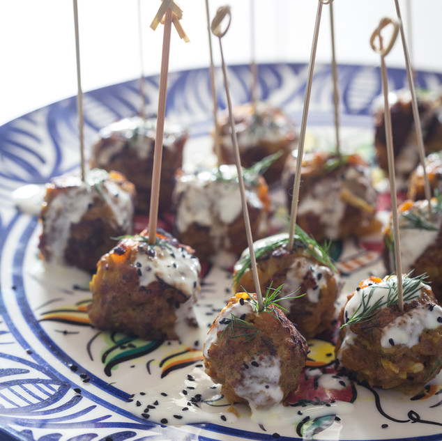 Lamb, apricot and fennel lollipops with yoghurt and tamarind