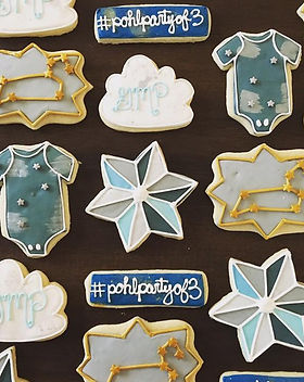 celestial baby shower cookie collection.