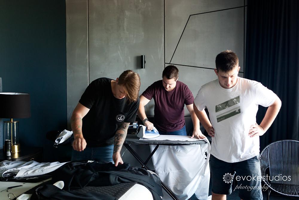 Boys ironing
