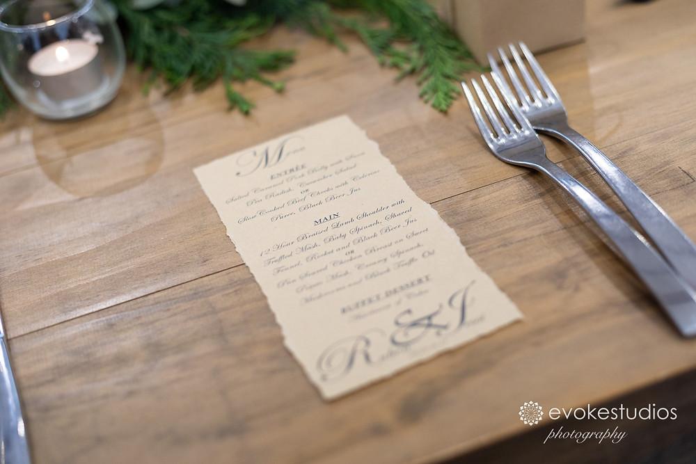 Hand made menus