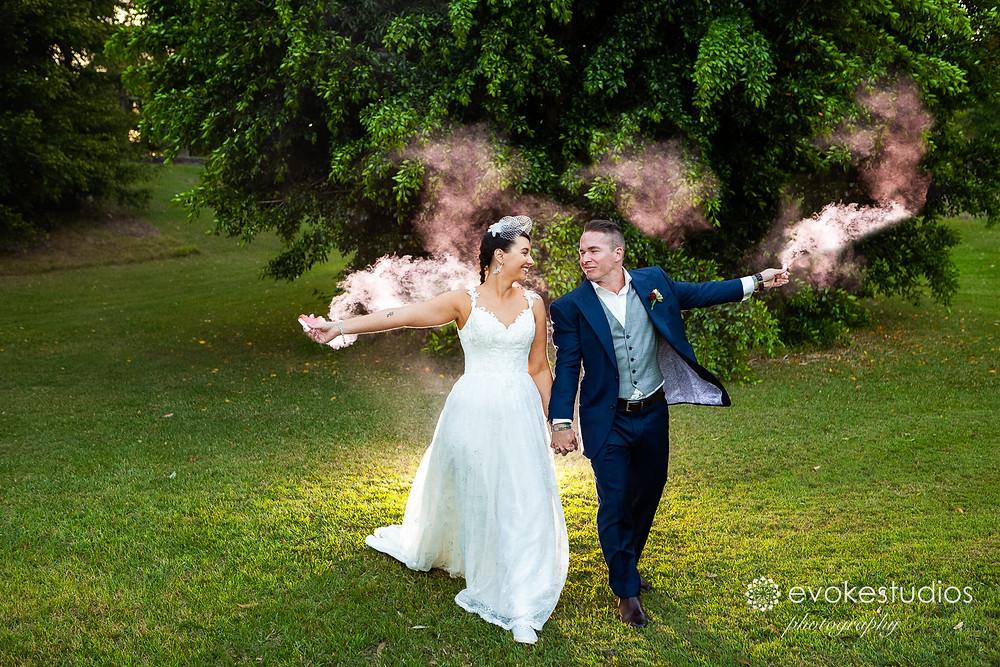 Smoke wedding photography