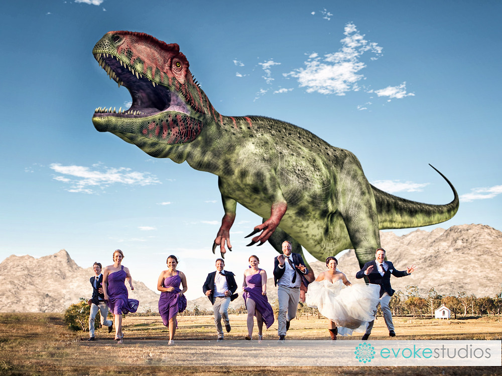 T-Rex wedding photo