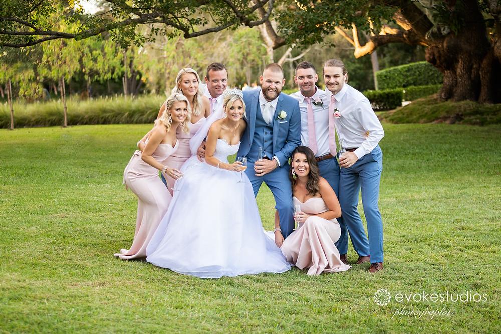 Bridal party garden wedding
