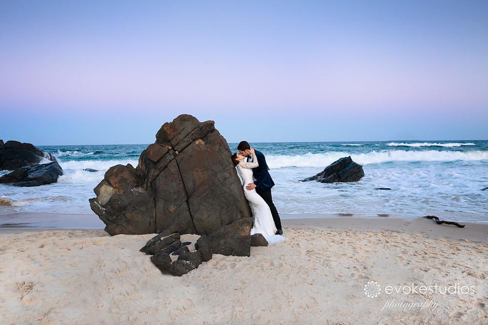 Beach sunset wedding photos