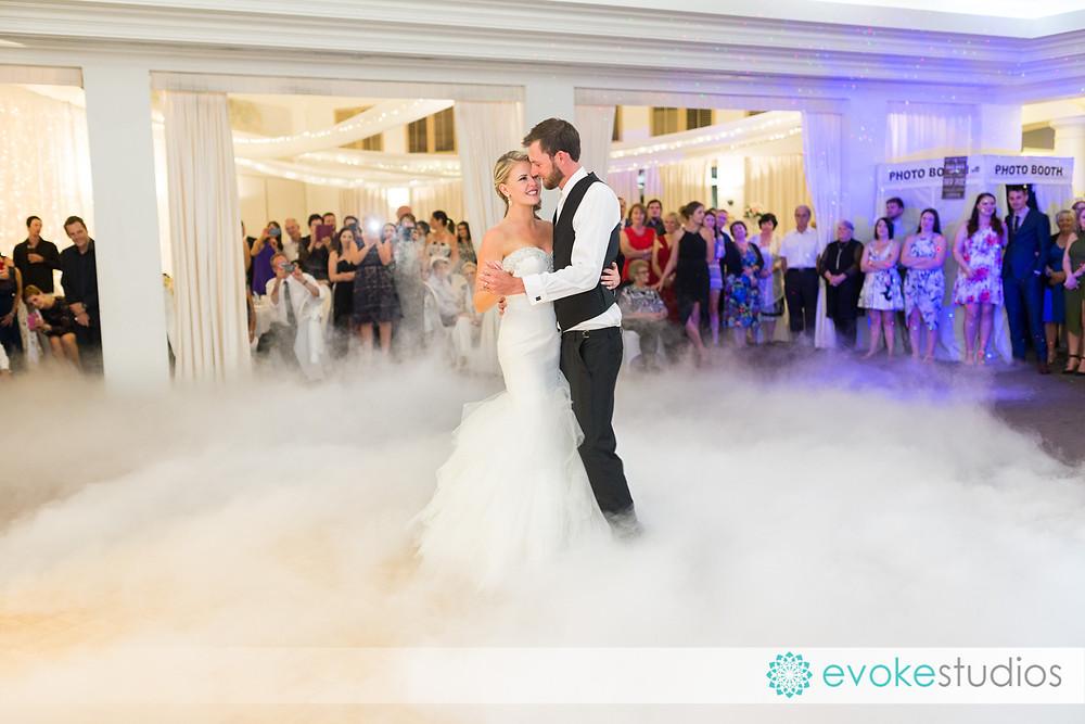 Bridal waltz with dry ice