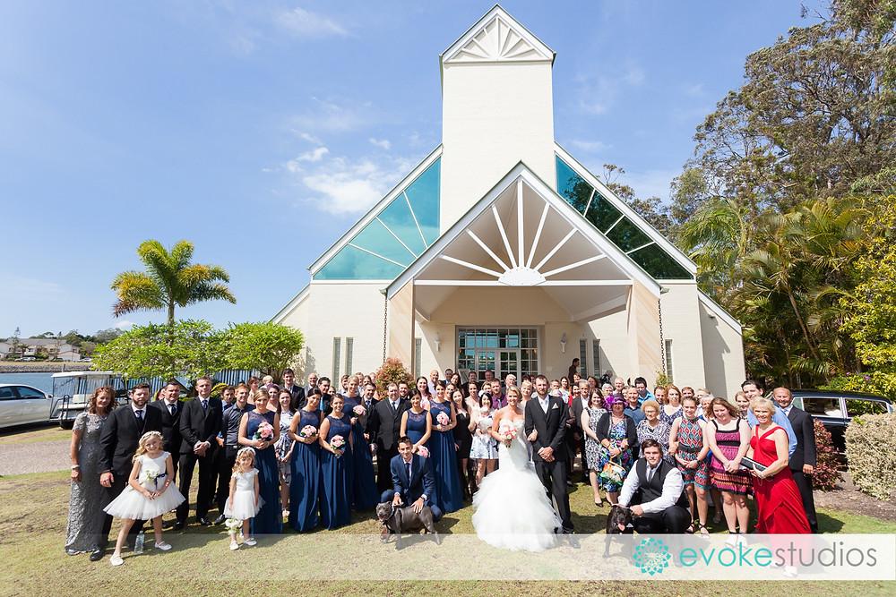 Group photo sanctuary cove wedding chapel