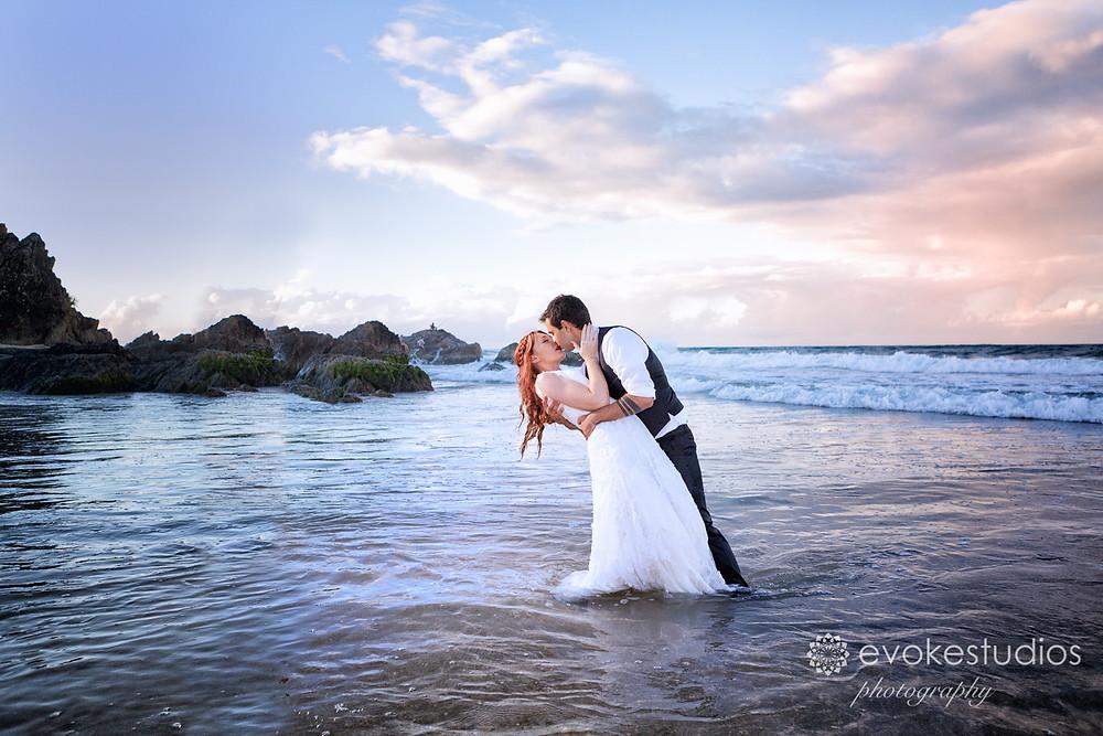 Trash the dress wedding beach shoot