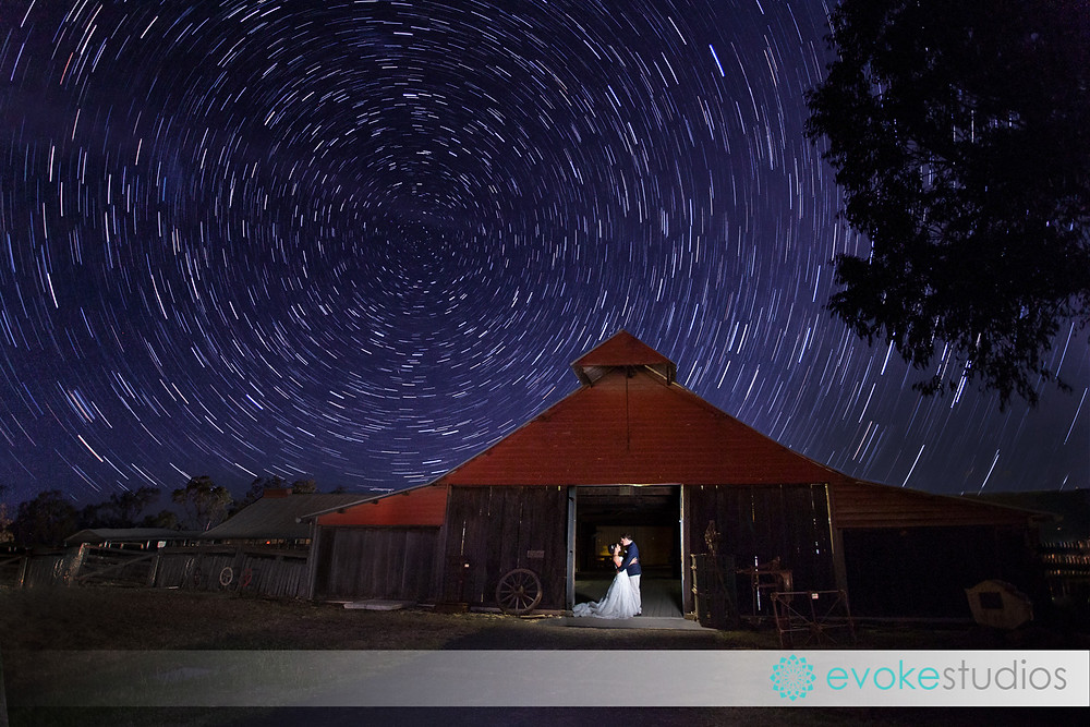 Star trail wedding photo country wedding