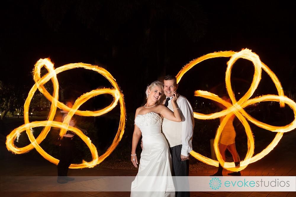 Fire twirlers wedding