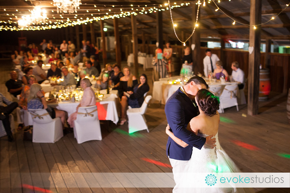 Bridal waltz in a barn