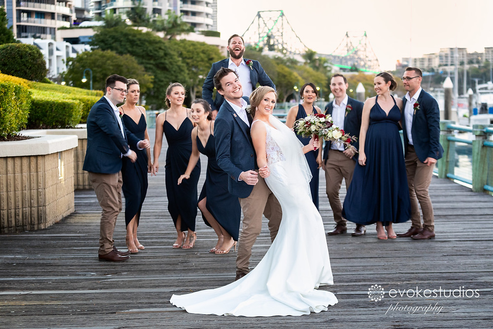 Fun with the bridal party