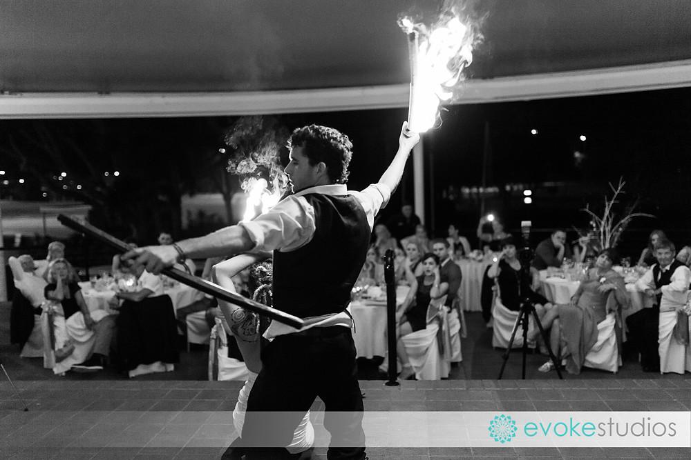 Wedding fire twirlers