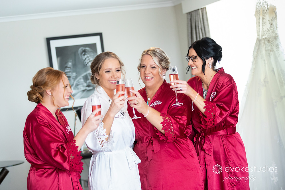 Bridesmaids celebrate
