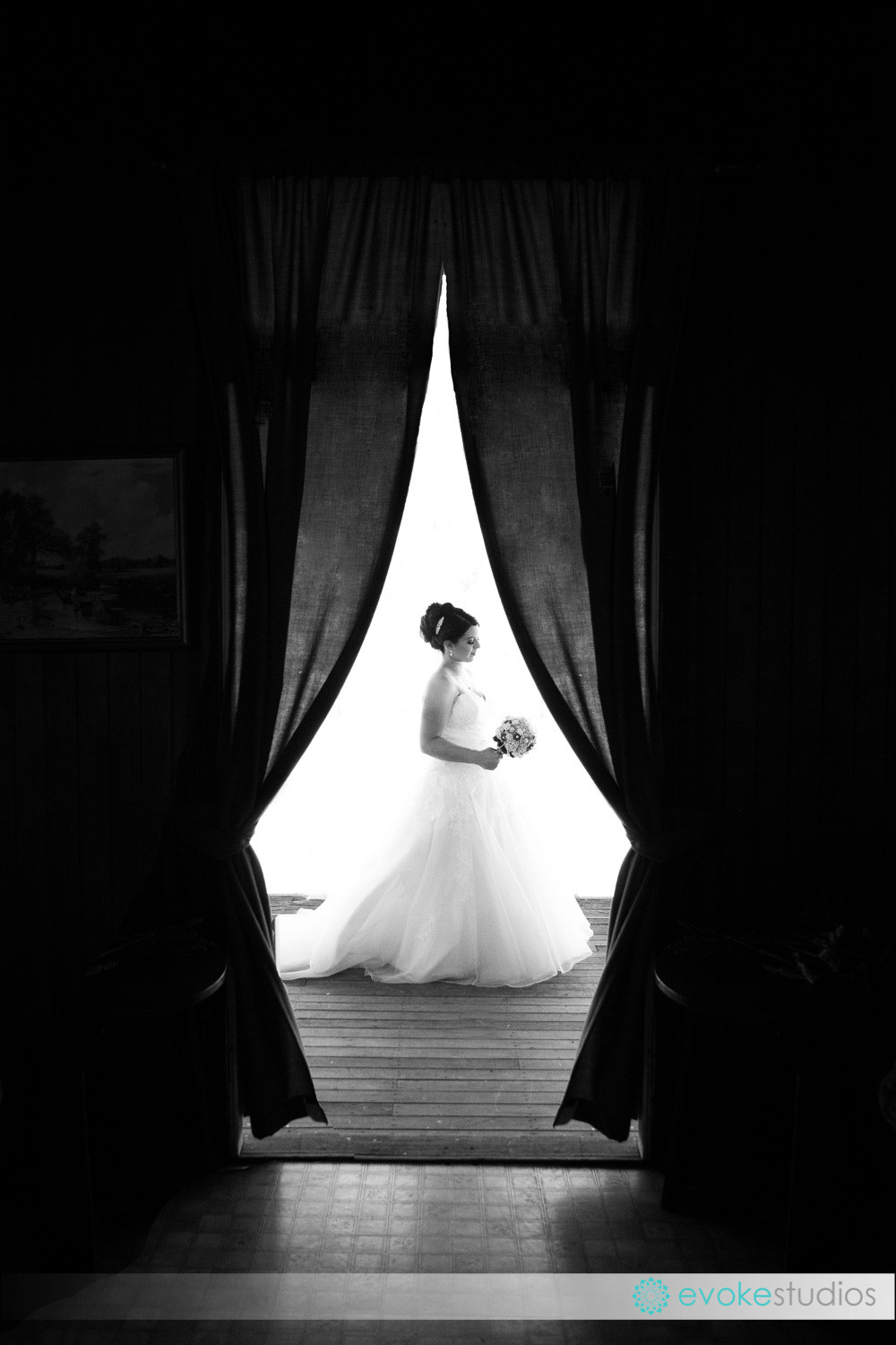 B&W bride in waiting
