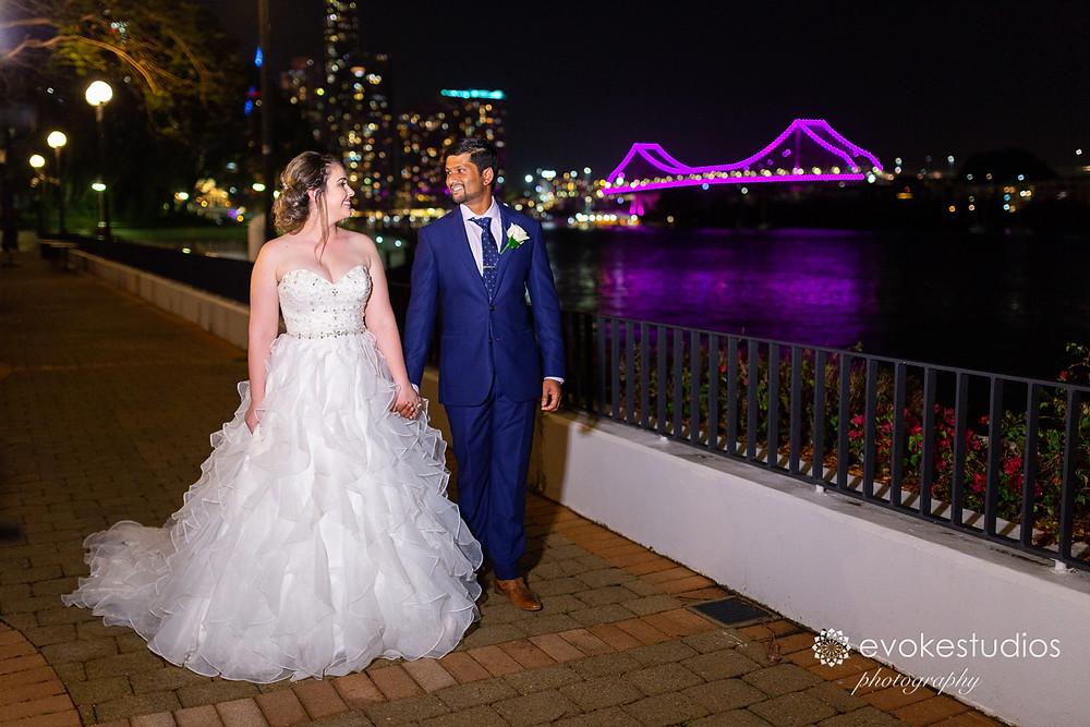 Night time wedding photography brisbane