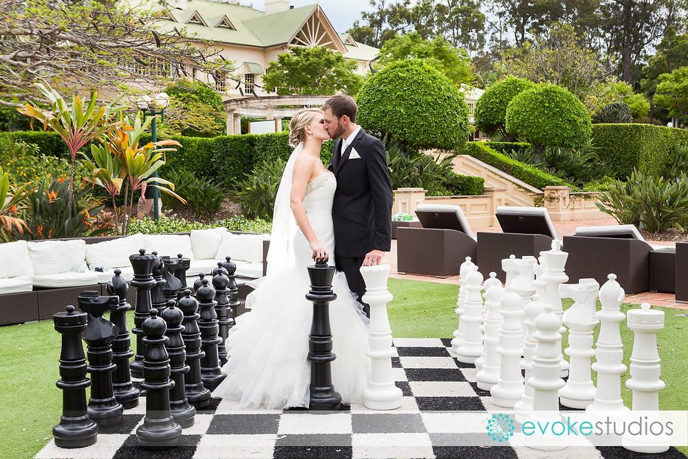 Chess board wedding photos
