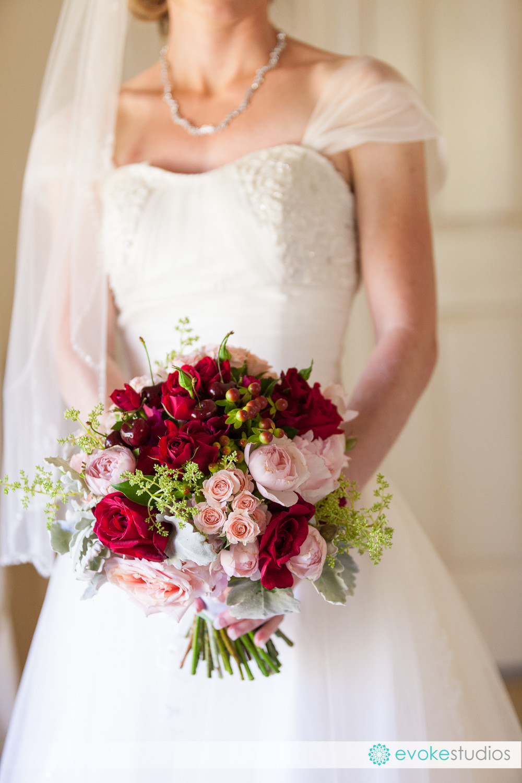 Cherries in a wedding bouquet