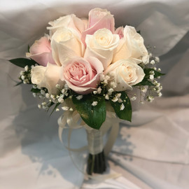 Baby pink & white rose bouquet