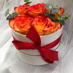 Sunset roses in white round box