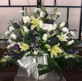 Purple & white potted arrangement
