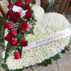 Extra large white heart with red rose arrangement